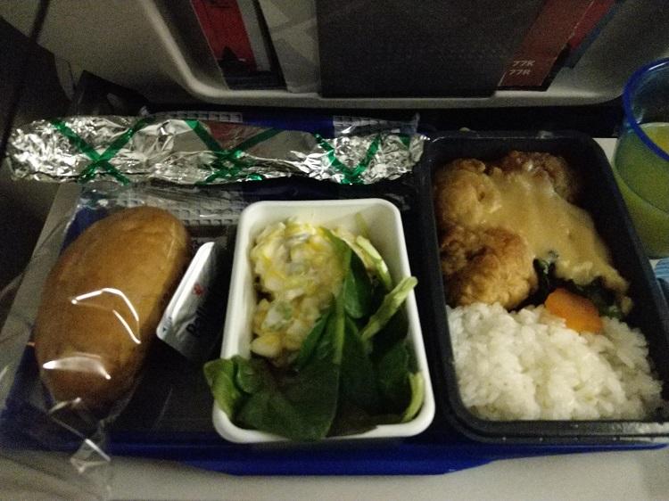 ユナイテッド航空 機内食 チキン