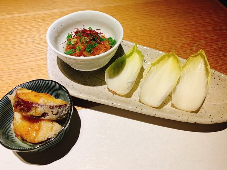 ふくのや 「サツマイモの天ぷら」と「ふぐのぶつ刺し」