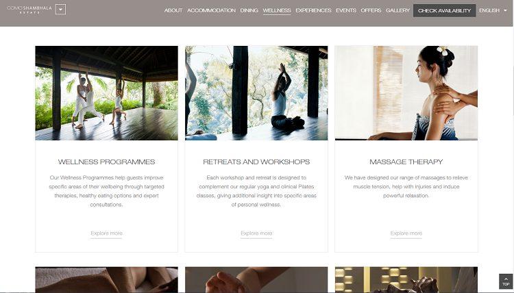 コモ シャンバラ エステート公式サイト WELLNESSページ