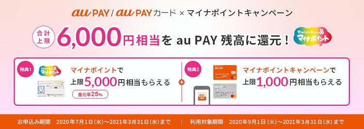マイナポイント関連キャンペーン au PAY、au PAYカード
