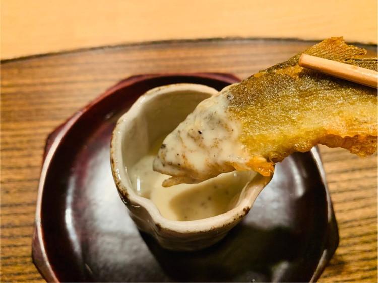 虎白 若鮎の天ぷらとトリュフの出汁2