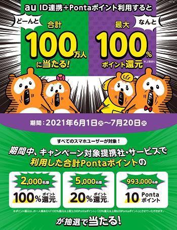 au ID連携+Pontaポイント利用で最大100%ポイントが当たるキャンペーン