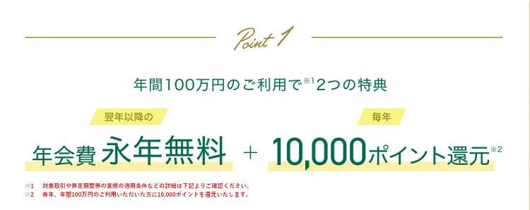 三井住友カード ゴールド(NL) 100万円利用時の特典